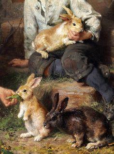 "animals-in-art: "" Felix Schlesinger (German, - Fütterung der Kaninchen "" Farm Animals, Cute Animals, Rabbit Run, Bunny Art, Cute Animal Pictures, Fauna, Animal Paintings, Vintage Art, Illustration Art"