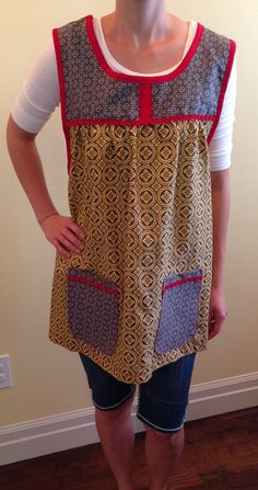 Red Yellow Grey Cobbler Apron by PlumPosherie on Etsy