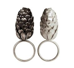 Sculptural Art Jewelry - Pine Cone Rings - contemporary jewellery design, inspired by natural form // Elizabeth Terzza