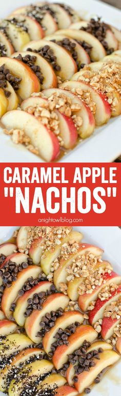 Easy Caramel Apple Nachos - all the taste but none of the fuss of caramel apples - a fall favorite! Snag your gourmet goodies at Appetizer Recipes, Snack Recipes, Dessert Recipes, Cooking Recipes, Party Appetizers, Delicious Desserts, Yummy Food, Good Food, Apple Recipes