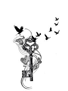 Tattoo idea to reflect family. Birds close members, flower buds future children heart and key unlocking the meaning of love.