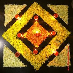 50 Most Beautiful Flower Rangoli Designs (ideas) that you can make during any occasion on the living room or courtyard floors. Rangoli Designs Simple Diwali, Simple Flower Rangoli, Rangoli Designs Flower, Free Hand Rangoli Design, Colorful Rangoli Designs, Rangoli Ideas, Indian Rangoli Designs, Small Rangoli, Diwali Decoration Lights