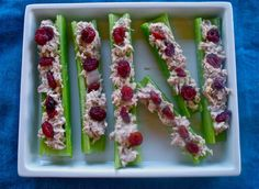 Celery, tuna and dried cranberries or raisins