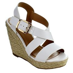 DELICIOUS BAYMISTA Womens Classic Criss Cross Buckled Espadrille Wedge Sandals ColorWHITE Size75 *** Click image to review more details.