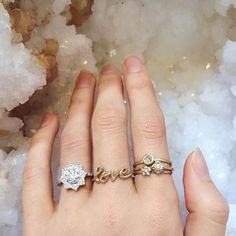 All you need is #love and a perfect diamond #ringstack. How lovely does our Zinnia engagement ring look next to our solid gold love ring and diamond stackers. For enquiries about our weddings fine and bespoke pieces email weddings@zoeandmorgan.com  #zoeandmorgan