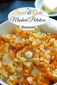 Sweet & Gold Mashed Potatoes. Sweet Potatoes & Yukon Golds are steamed then mixed with butter, salt & pepper - the best mashed potatoes - ever! Simply Sated