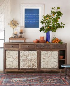 Marietta Pressed Tin Large Console - large tin and reclaimed wood console.