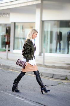 Bomber jacket : Acne Shirt : Acne Skirt : DVF Boots : Chanel Bag : Valentino