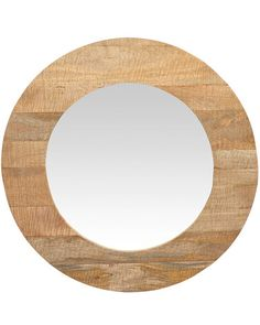 a striking large round mirror with a broad contemporary frame in naturally finished sustainable mango