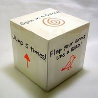 A Physical Activity Cube, plus 29 other ideas to help kids burn excess energy  Great idea for a party or rainy day