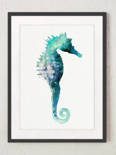 Sea Horse Watercolor Print Gift Idea. Seascape Turquoise Nautical Painting. Seahorse Home Decor Blue Nautical Wall Decoration.  Type of paper: Prints