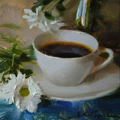 "Daily+Paintworks+-+""Coffee+and+Camomile""+-+Original+Fine+Art+for+Sale+-+©+Elena+Katsyura"