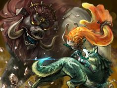 Gorgeous artwork of Link, Midna, and Ganon final battle. I have to say that of ALL the Zelda themed art I've seen, this is THE BEST.