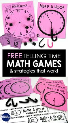 FREE time past the hour math games and centers Teaching kids to tell time past the hour doesn't have to be a struggle! Try these FREE math games and practice activities plus simple strategies. Telling Time Activities, Teaching Time, Teaching Math, Math Activities, Preschool Learning, Leaving Home, Guided Math Groups, Free Math Games, Second Grade Math