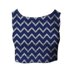 Harry Potter Inspired House Chevrons Ladies Crop Top ($27) ❤ liked on Polyvore featuring tops, chevron print tops, chevron tops, blue top, cut-out crop tops and blue crop top