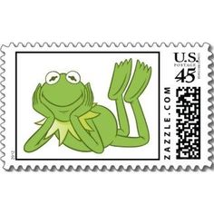 Kermit the Frog lying down Disney stamp: