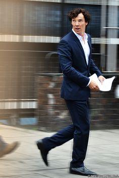 Benedict Cumberbatch, setlock, 8/21/2013, London. Twisted Benny!
