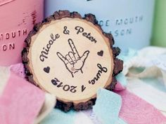 Sign Language Wood Magnets (50ct) | Green Bride Guide