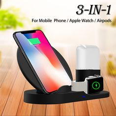 3 In 1 Qi Wireless Charger Phone Charger/Watch Charger/Earphone Charger For Smart Phone/iPhone/Apple Watch Series/Apple AirPods BazaCenters. Apple Watch Accessories, Ipad Accessories, Charger Holder, Apple Watch Iphone, Apple Watch Series 1, Iphone 8 Plus, Galaxies, Smartphone, Samsung Galaxy