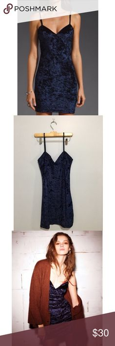 Midnight Blue Crushed Velvet Dress Excellent condition, never worn. Form fitting, very trendy style. No longer made by designer, cannot be found in stores or elsewhere. Urban Outfitters Dresses Mini