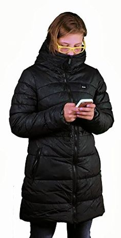 Bench Urbanwear Snooty Black 3/4 Length Winter Puffer Bubble Jacket