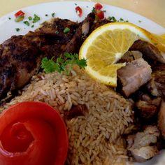 Jerk chicken & pork.  Food for the soul.