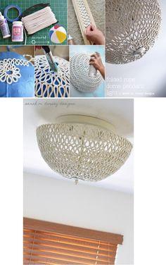 DIY Folded Rope Dome Pendant Light