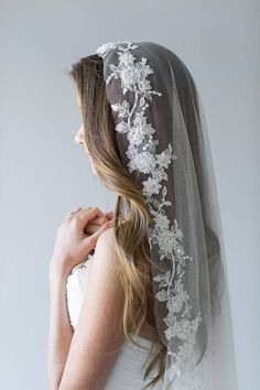 Three Timeless Bridal Hairstyles we love by Betsey Blue Photography Mantilla Veil, Lace Veils, Lace Weddings, Wedding Veils, Hair Wedding, Ivory Veil, Ivoire, Couture, Embroidered Lace