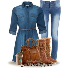 denim tunic shirt Denim casual outfits for women  http://www.justtrendygirls.com/denim-casual-outfits-for-women/