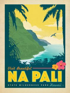 Hawaii: Na Pali State Wilderness Park - Anderson Design Group has created an award-winning series of classic travel posters that celebrates the history and charm of America's greatest cities and national parks. Founder Joel Anderson directs a team of talented Nashville-based artists to keep the collection growing. This print features the awesome beauty found on the trails of Na Pali State Wilderness Park.