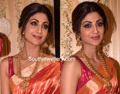 Shilpa Shetty in an antique gold mango mala paired with antique jhumkis from Anmol Jewellers.