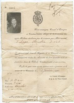 Greece Turkey Constantinople Spain Consulate Document for A Greek Man 1928 Greek Man, Old Greek, Photographs Of People, Helping Others, Ephemera, Greece, The Past, Spain, Turkey