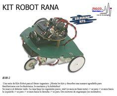 KIT ROBOT RANA Una serie de Kits Robot para el futuro ingeniero. ¡Monte los kits y descubra una manera agradable para  familiarizarse con la electrónica, la mecánica y la hidráulica! Se mueve al detectar ruido. La rana hace los siguientes pasos:  start (avanza en línea recta)  - > se para  - > avanza hacia  la izquierda  - > se para  - > avanza hacia la derecha  - > se para. Dos motores de engranajes (no montados). #productoPalco #kit #robot #educacional Baby Strollers, Kit, Toys, Children, Gears, Engineer, Motors, Future, Baby Prams
