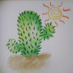 """""""#fevereironadaaver  #Dia15 : Ai que #sede ! #drawing #draw #desenho #art #cactus #cacto #pastelseco…"""""""