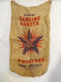 VINTAGE Burlap 100# IDAHO Potato Sacks//Bags With Logo//Designs Gunny Sacks A-P