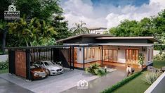 Modern, Villa-Style Single Storey House With Two Bedrooms - Ulric Home House Layout Design, Village House Design, Simple House Design, House Layouts, Modern House Design, New House Plans, Modern House Plans, L Shaped House Plans, Home Building Design