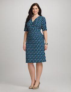 Plus Size | Dresses | Work Dresses | Plus Size Geometric V-Neck Dress | dressbarn