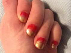 Christmas ombré nails: Paint layer of red, wait 1 minute. Paint some gold on the top 1/3 of nail, wait 1 minute. Use a dab of any color glitter polish to swirl and blend the gold and red together. The polish is all a little wet, so it will smudge together nicely. Allow to dry and apply a clear topcoat.