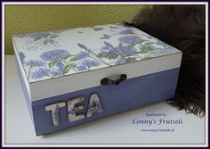 Tea box decoupage napkin
