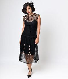 Iconic by UV 1920s Black Lace Rosette Gypsy Flapper Dress