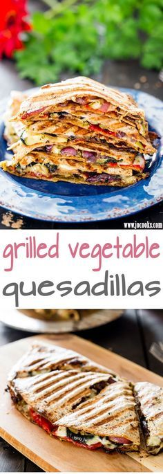 Grilled Vegetable Quesadillas with fresh mozzarella cheese and pesto - using fresh ingredients found at your local market, these quesadillas are perfect for a healthy lunch or dinner.