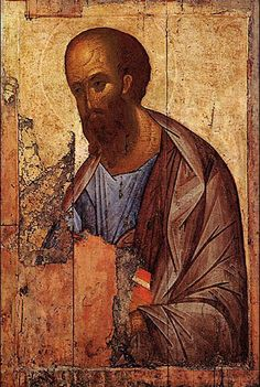Apostle Paul, by Rublev. Despite the fragmentary state of this, the power, simplicity and authority of this icon is inspiring. Russian Painting, Hand Painting Art, Russian Art, Byzantine Icons, Byzantine Art, Religious Icons, Religious Art, Andrei Rublev, Pop Art