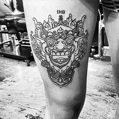 Balinese mask tattoos are stunning with their intricate designs and the legends that inspired them. Asian Tattoos, Boy Tattoos, Music Tattoos, Cute Tattoos, Sleeve Tattoos, Tattoos For Guys, Thigh Tattoos, Tatoos, Creative Tattoos