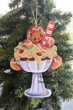Handpainted Wooden  Christmas Gingerbread  Cookie, Christmas Ornament