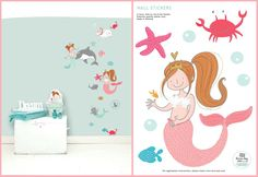 MERMAID 'LILLY' WALL STICKER  Turn your little girl's room into a underwater world with this sweet wall sticker of Lilly as mermaid. Add also the wall stickers of mermaid Lisa, Lotje, Dottie and Pip to make the story complete or combine it with the Lisa & Lilly mermaid wallpaper. Use them on the wall or decorate a linen closet, commode or room door with this sweet sticker. The wall stickers are made ​​from high quality matte vinyl and are very easy to apply.