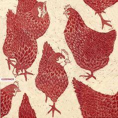 Red hens ,linocut by Marliese Richmond