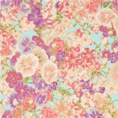 Tissu Robert Kaufman turquoise, fleurs violettes, feuilles, dorures métalliques - Tissus à Fleurs - Tissus - boutique kawaii modeS4u