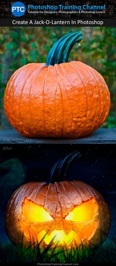 Awesome Photoshop tutorial showing you how to turn an ordinary pumpkin into a frightening Halloween jack-o-lantern.