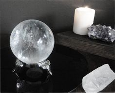 Quartz Crystal Ball with Silver Stand by GrayVervain on Etsy, $92.00