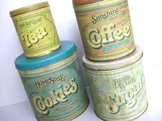 Vintage Tin Canister Set Cookies Sugar Coffee Tea by Swede13